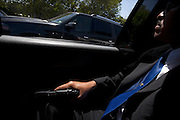 Members of a private Mexican family's professional security team travel behind their boss's car, poised for potential action. As a result of Mexico's increasing violence, many of the country's elites are taking protection into their own hands, by hiring private security forces/bodyguards.