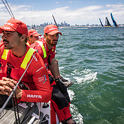 Leg 4, Melbourne to Hong Kong, day 01 on board MAPFRE, Leg start, Louis Sinclair and Guillermo Altadill. Photo by Ugo Fonolla/Volvo Ocean Race. 02 January, 2018.