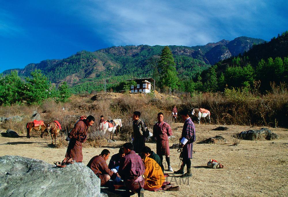 Horsemen taking a break, Bhutan