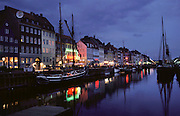 Nyhavn canal area at dusk. Copenhagen, Denmark.