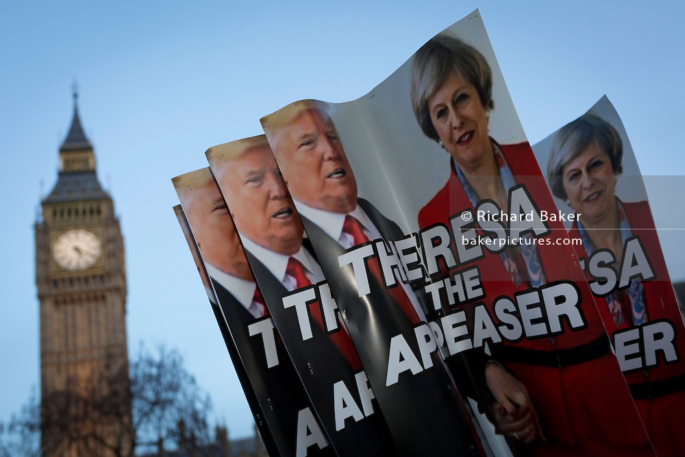 "As the British government debated US President Donald Trump's state visit to the UK, thousands of protesters gathered in large numbers against the trip which would potentially cost millions of Pounds in security alone. The visit comes after two online petitions received more than the 100,000 signatures required for such a debate to be considered in Parliament. A petition against the state visit got 1.85m signatures, while one supporting it got 311,000. Campaigners protested against the ""hatred, racism and division that Donald Trump is trying to create"". Prime Minister Theresa May announced the state visit during her visit to Washington in January."