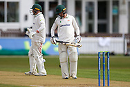 50 - Harry Swindells moves to 50 during Day 3 of the LV= Insurance County Championship match between Leicestershire County Cricket Club and Hampshire County Cricket Club at the Uptonsteel County Ground, Leicester, United Kingdom on 10 April 2021.