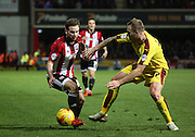 Brentford midfielder Alan Judge tyring to inspire a Brentford fightback during the Sky Bet Championship match between Brentford and Burnley at Griffin Park, London, England on 15 January 2016. Photo by Matthew Redman.