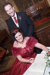 Couple on their wedding day,