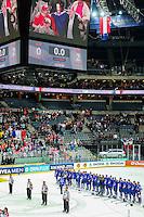 Equipe de France pendant les Hymnes - Championnats du Monde de Hockey sur Glace 2015 -Prague<br />Photo : Xavier Laine / Icon Sport *** Local Caption ***