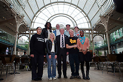 © under license to London News Pictures. 25/06/12. London, UK. Organisers of Streetwise Opera join chief executive Tony Hall,centre, at the RoyaL Opera House, back  left, Angel Masiala, Don Robinson, Bryan Morryson, Samantha Ashleigh Hayhurst. .Front left, Beatriz Pinto, Tiyonne Whittaker, Tony Hall, Dave Cooke and Martine Carter..Streetwise Opera is co-ordinating a one-night special event tonight at the Royal Opera House to showcase the skills of 300  performers from around the U.K who have experienced homelessness. .ALEX CHRISTOFIDES/LNP