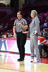 NORMAL, IL - February 10: Lindsey VanDyken chats with Kristen Gillespie during a college women's basketball Play4Kay game between the ISU Redbirds and the Indiana State Sycamores on February 10 2019 at Redbird Arena in Normal, IL. (Photo by Alan Look)