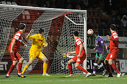 Bristol City's Kieran Agard misses a chance - Photo mandatory by-line: Dougie Allward/JMP - Mobile: 07966 386802 - 03/03/2015 - SPORT - football - Leyton - Brisbane Road - Leyton Orient v Bristol City - Sky Bet League One