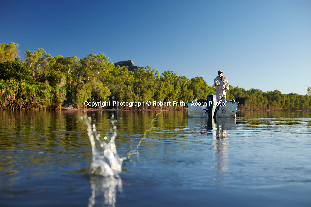 """Greg """"Hairy Dog"""" Harman fishing on the Ord River near his Ultimate Adventure Camp"""