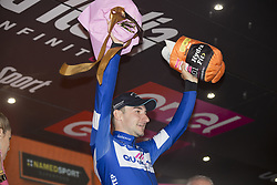 May 23, 2018 - Iseo, Italy - Blue jersey celebrates on the podium  Winner stage 17  Elia Viviani Quick-Step Floorsduring the 101st Tour of Italy 2018, Stage 17 RIVA DEL GARDA-ISEO (FRANCIACORTA STAGE),  155 km  on May 23, 2018 in Iseo, Italy  (Credit Image: © Fabio Averna/NurPhoto via ZUMA Press)