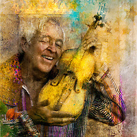 """Photo illustration art of an elderly man joyfully holding his yellow violin with his crown chakra lit with energy. <br /> :::<br /> """"Moment after moment we are creating something, and this is the joy of our life.""""<br /> -Shunryu Suzuki"""