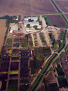Aerial view of nursery with assorted growing plots near Clifton, Illinois.