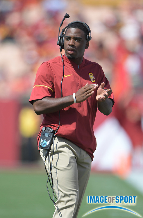 Sep 10, 2016; Los Angeles, CA, USA; USC Trojans offensive assistant coach Prentice Gill during a NCAA football game against the Utah State Aggies at Los Angeles Memorial Coliseum.