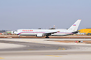 Israel, Ben-Gurion international Airport Rossiya passenger jet ready for takeoff