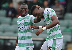 Yeovil Town's Gozie Ugwu celebrates his sides goal  - Photo mandatory by-line: Harry Trump/JMP - Mobile: 07966 386802 - 25/04/15 - SPORT - FOOTBALL - Sky Bet League One - Yeovil Town v Port Vale - Huish Park, Yeovil, England.
