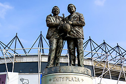 The Brian Clough & Peter Taylor statue outside Pride Park Stadium, home to Derby County - Mandatory by-line: Ryan Crockett/JMP - 30/03/2019 - FOOTBALL - Pride Park Stadium - Derby, England - Derby County v Rotherham United - Sky Bet Championship