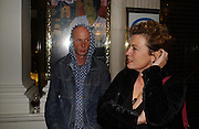 Peter Bond and Tatiana de Stempel, PRIVATE VIEW FOR GAVIN TURK'S NEW EXHIBITION:<br />THE FONT PROJECT, The Fine Art Society. New Bond St. 3 October 2006. -DO NOT ARCHIVE-© Copyright Photograph by Dafydd Jones 66 Stockwell Park Rd. London SW9 0DA Tel 020 7733 0108 www.dafjones.com