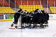 October 13, 2007 - Anchorage, Alaska: Wayne State University huddles around their goal prior to their game three 4-1 loss to the Robert Morris University Colonials at the Nye Frontier Classic at the Sullivan Arena.