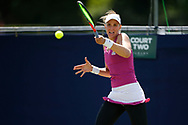 Beatriz Haddad Maia of Brazil plays a forehand during the Women's Singles Quarter Final at the Fuzion 100 Ilkley Lawn Tennis Trophy Tournament held at Ilkley Lawn Tennis and Squad Club, Ilkley, United Kingdom on 19 June 2019.
