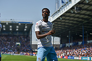Coventry City Forward, Jordy Hiwula (11) celebrates after scoring a goal to make it 0-1 during the EFL Sky Bet League 1 match between Portsmouth and Coventry City at Fratton Park, Portsmouth, England on 22 April 2019.