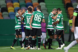 September 20, 2018 - Lisbon, Portugal - Sporting's forward Raphinha from Brazil celebrates with teammates after scoring during the UEFA Europa League Group E football match Sporting CP vs Qarabag at Alvalade stadium in Lisbon, on September 20, 2018. (Credit Image: © Pedro Fiuza/NurPhoto/ZUMA Press)