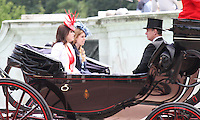 Prince Andrew; Princess Eugenie; Princess Beatrice Queen's Birthday Parade Trooping The Colour, London, UK, 12 June 2010. For piQtured Sales contact: Ian@piqtured.com Tel: +44(0)791 626 2580 (Picture by Richard Goldschmidt/Piqtured)