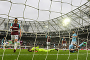 Manchester City forward Gabriel Jesus (33) trips over West Ham United goalkeeper Adrian (13) after scoring a goal during the Premier League match between West Ham United and Manchester City at the London Stadium, London, England on 29 April 2018. Picture by Toyin Oshodi.