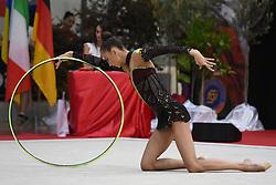 July 28, 2018 - Chieti, Abruzzo, Italy - Rhythmic gymnast Yeva Meleshchuk of Ukraine performs her hoop routine during the Rhythmic Gymnastics pre World Championship Italy-Ukraine-Germany at Palatricalle on 29th of July 2018 in Chieti Italy. (Credit Image: © Franco Romano/NurPhoto via ZUMA Press)