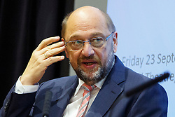 © Licensed to London News Pictures. 23/09/2016. London, UK. President of the European Parliament MARTIN SCHULZ delivers a speech to LSE students at London School of Economic on 23 September 2016 after completing his meetings with UK Prime Minister Theresa May, Mayor of London Sadiq Khan and Leader of Opposition Jeremy Corbyn. Photo credit: Tolga Akmen/LNP