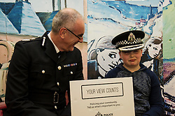 Pictured: Phil Gormley met Levi Murray (11) on his visit.<br /> Police Scotland Chief Constable Phil Gormley unveiled details of the 'Your View Counts' exercise, which will help shape policing priorities throughout the country in Edinburgh today. <br /> Ger Harley   EEm 7 April 2016