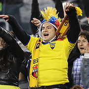 Ecuador fans in action during the Argentina Vs Ecuador International friendly football match at MetLife Stadium, New Jersey. USA. 15th November 2013. Photo Tim Clayton