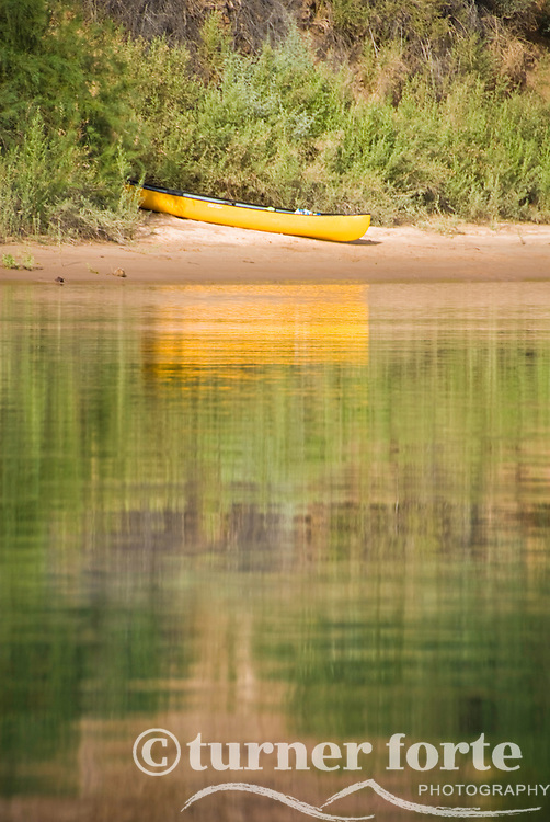 Canoe reflections in The Black Canyon, Nevada.
