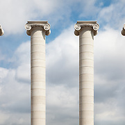 Four columns standing near the Museu Nacional d'Art de Catalunya in Barcelona, Spain.<br /> <br /> LICENSING: This image can only be licensed through SpacesImages. Click on the link below:<br /> <br /> http://tinyurl.com/cunxrot