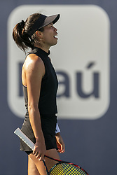 March 25, 2019 - Miami Gardens, FL, USA - Hsieh Su-wei, of Taiwan, reacts during her match against Caroline Wozniacki, of Denmark, at the Miami Open tennis tournament on Monday, March 25, 2019 at Hard Rock Stadium in Miami Gardens, Fla. (Credit Image: © Matias J. Ocner/Miami Herald/TNS via ZUMA Wire)