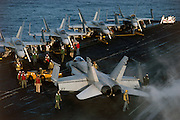 F/A-18 Hornets on carrier deck
