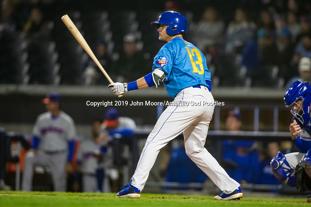 Amarillo Sod Poodles infielder Chris Baker (13) bats against the Midland RockHounds on Thursday, May 23, 2019, at HODGETOWN in Amarillo, Texas. [Photo by John Moore/Amarillo Sod Poodles]