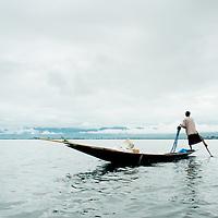 Traditiona fisherman of Inle Lake, Myanmar