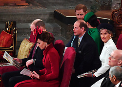The Duke and Duchess of Sussex (top right) sit with the Earl and Countess of Wessex and the Duke and Duchess of Cambridge, during the Commonwealth Service at Westminster Abbey, London on Commonwealth Day. The service is the Duke and Duchess of Sussex's final official engagement before they quit royal life.