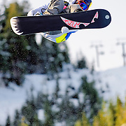 US Snowboarding Team member Greg Bretz competes in the half pipe during preliminaries at the 2009 LG Snowboard FIS World Cup at Cypress Mountain, British Columbia, on February 16th, 2009. Bretz finished 19th in a field of 70.