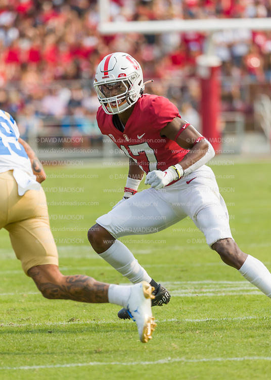 PALO ALTO, CA - SEPTEMBER 26:  Kyu Blu Kelly #17 of the Stanford Cardinal plays in an NCAA Pac-12 college football game against the UCLA Bruins on September 26, 2021 at Stanford Stadium in Palo Alto, California; also visible is Kazmeir Allen #19 of UCLA.  (Photo by David Madison/Getty Images)
