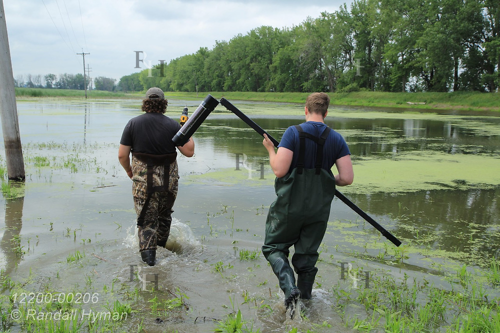 Hyfi field techs Matt Craddock and Nik Krantz wade into wetland to install water-level sensor at Shiawassee National Wildlife Refuge; Saginaw, Michigan.