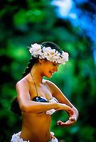 Hula Dancer, Waimea Falls Park, Waimea Bay, north shore of Oahu, Hawaii USA