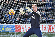 AFC Wimbledon goalkeeper George Long (1) warming up during the EFL Sky Bet League 1 match between AFC Wimbledon and Bristol Rovers at the Cherry Red Records Stadium, Kingston, England on 17 February 2018. Picture by Matthew Redman.