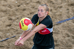 Iris Reinders in action. The DELA NK Beach volleyball for men and women will be played in The Hague Beach Stadium on the beach of Scheveningen on 22 July 2020 in Zaandam.