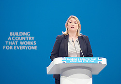 Conservative Annual Conference, Manchester Central, Manchester, Great Britain <br /> Day 2<br /> 2nd October 2017 <br /> The Rt Hon Karen Bradley MP<br /> Secretary of State for Digital, Culture, Media and Sport<br /> keynote speech <br /> <br /> <br /> <br /> Photograph by Elliott Franks <br /> Image licensed to Elliott Franks Photography Services