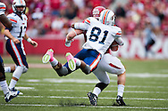 FAYETTEVILLE, AR - OCTOBER 31:  Brooks Ellis #51 of the Arkansas Razorbacks returns a interception and is tackled from behind by Caylon Weathers #81 of the UT Martin Skyhawks at Razorback Stadium on October 31, 2015 in Fayetteville, Arkansas.  The Razorbacks defeated the Skyhawks 63-28.  (Photo by Wesley Hitt/Getty Images) *** Local Caption *** Brooks Ellis; Caylon Weathers