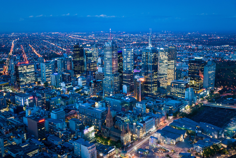 View of Melbourne CBD at dusk