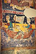 Twelfth Century Romanesque fresco of The Calling of St.. Andrew & St. Peter fishing from the church of Santa Maria de Taull, La Vall de Boi, Alta Ribagorca, Spain. National Art Museum of Catalonia, Barcelona. MNAC 3915