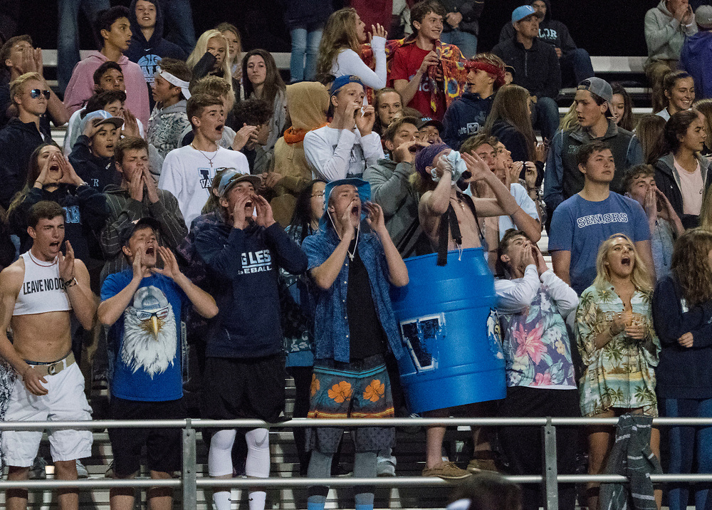 ARVADA - SEPT. 22: Valor Christian spectators cheer after a touchdown against Pomona during the first half of a Class 5A nonconference high school varsity football game held at the North Area Athletic Complex. (Photo by Andy Colwell/ Special to The Denver Post)