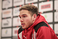 Goalscorer Jon Taylor (Rotherham United) talks during the press conference about scoring for Rotherham and the message on his shirt for his friend who is facing a heart operation after the EFL Sky Bet Championship match between Rotherham United and Blackburn Rovers at the AESSEAL New York Stadium, Rotherham, England on 11 February 2017. Photo by Mark P Doherty.